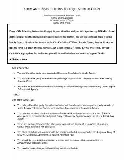 form and instructions to request mediation LorainCounty – Mediation Agreement Template