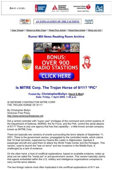 Is MITRE Corp. The Trojan Horse of 9/11? *PIC*