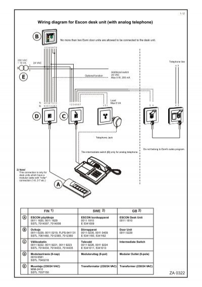 za 0322 wiring diagram for escon desk unit  with analog telephone