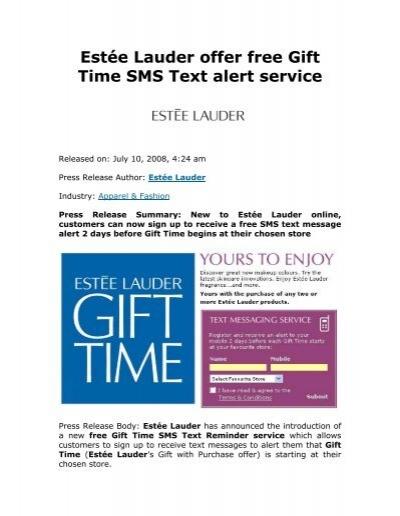 Estée Lauder offer free Gift Time SMS Text alert service
