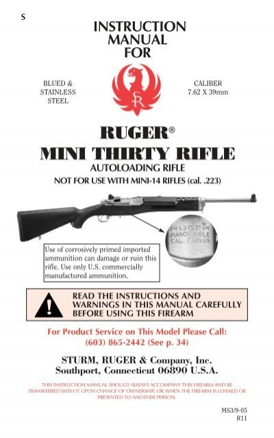 Ruger 44 Magnum Carbine Instruction and Maintenance Manual