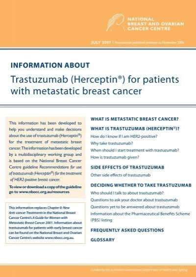 Trastuzumab Herceptin For Patients With Cancer Australia