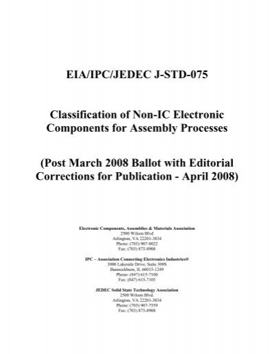 EIA/IPC/JEDEC J-STD-075 Classification of Non-IC Electronic