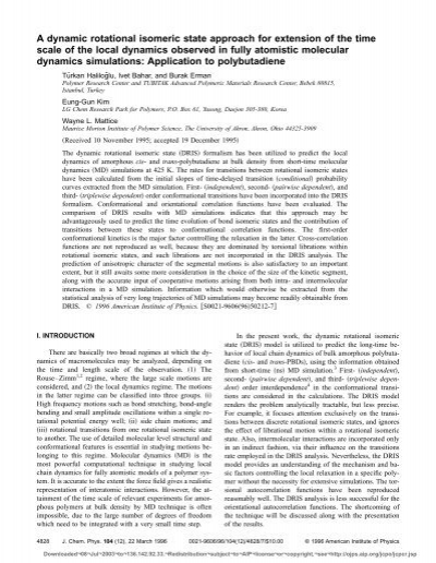 A dynamic rotational isomeric state approach for extension