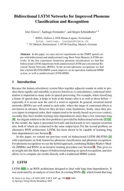 Bidirectional Lstm Networks For Improved Phoneme Classification