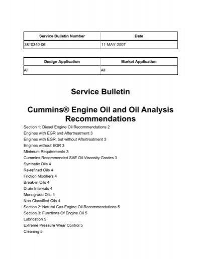 Service Bulletin Cummins® Engine Oil and Oil Analysis