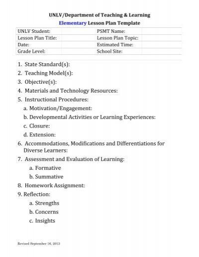 elementary lesson plan template department of teaching