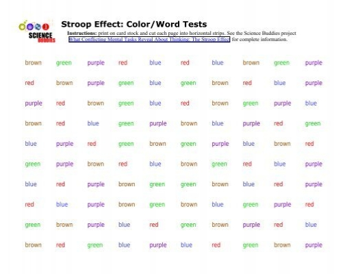 to investigate the stroop effect What the stroop effect does is sh  the stroop task,  there is the aim to investigate interference using pairs of conflicting stimuli on serial verbal.