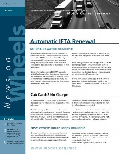 Automatic ifta renewal missouri department of transportation for Motor carrier permit renewal application