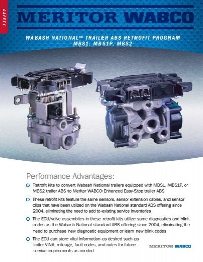 Wabco Abs Wiring Diagram Trailer : Wabash national ¢ trailer abs retrofit meritor wabco