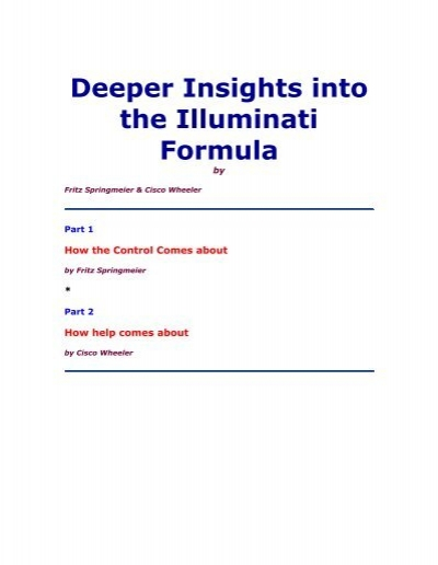Deeper Insights Into The Illuminati Forumula By Fritz Springmier Pdf