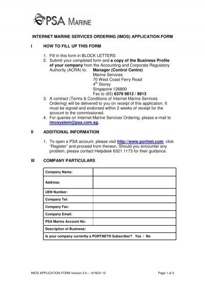imos application form - PSA Marine