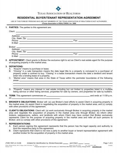 Resid Buyer Tenant Rep Agreement 04 14 06