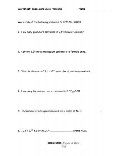 Worksheet Even More Mole Problems Chemistry A Study Of Matter Kidz