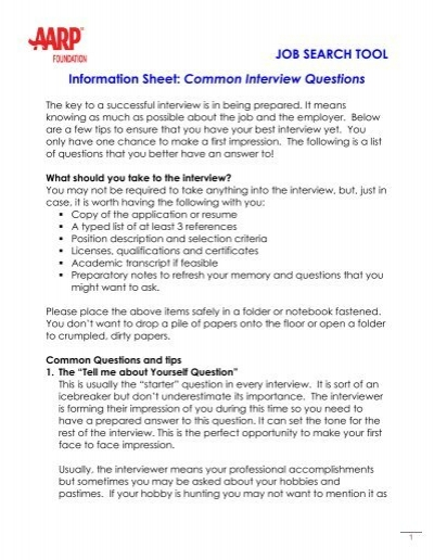 job search tool information sheet common interview questions