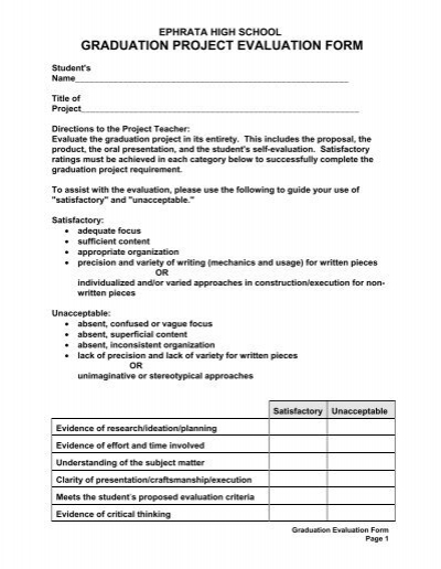 Graduation Project Evaluation Form