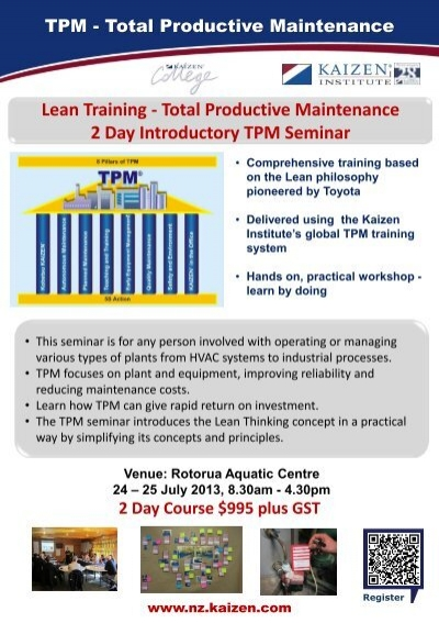 Total Productive Maintenance 2 Day Introductory TPM Seminar