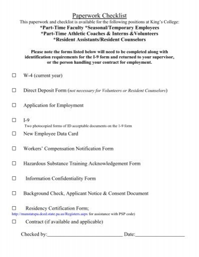 New Employee Paperwork Packet - King\'s College