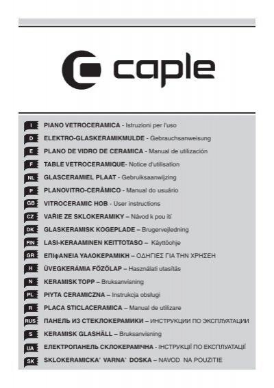 vitroceramic hob user instructions va ie ze caple rh yumpu com Cutting Guide Household Appliances