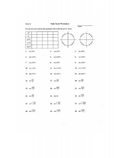 unit circle practice worksheet worksheets releaseboard free printable worksheets and activities. Black Bedroom Furniture Sets. Home Design Ideas