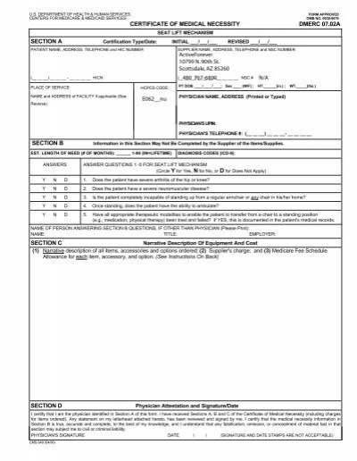 certificate of medical necessity cms-854 — continuation form