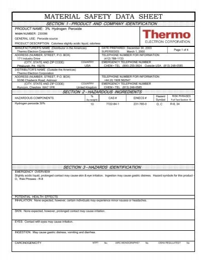 3 hydrogen peroxide msds number grice marine laboratory - Unknown uses hydrogen peroxide ...