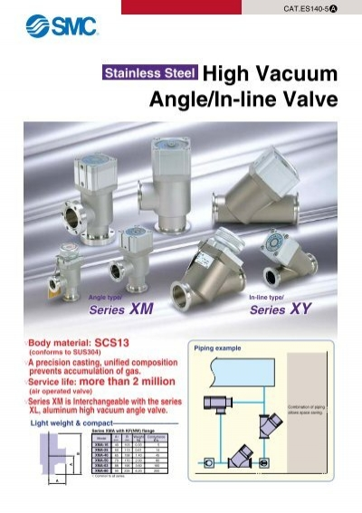 stainless steel high vacuum angle in line valve smc pneumatics