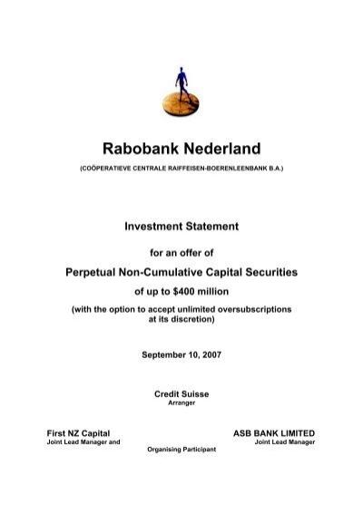 Rabobank Term Deposit Rates