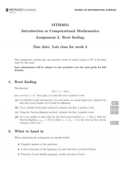 MTH3051 Introduction to Computational Mathematics Assignment 2