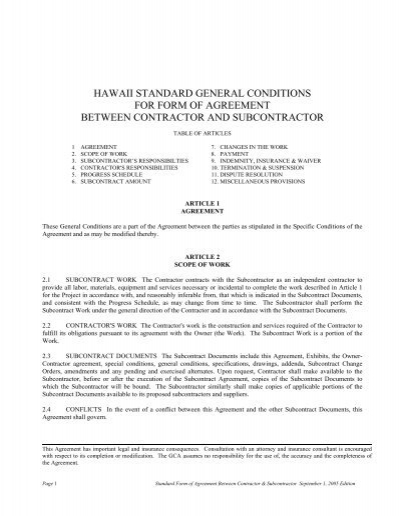 Hawaii Standard General Conditions For Form Of Agreement Between