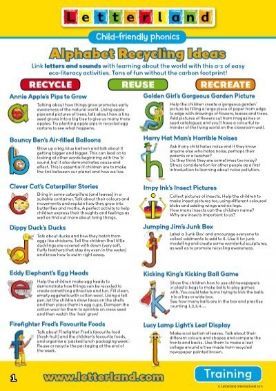 alphabet recycling ideas letterland