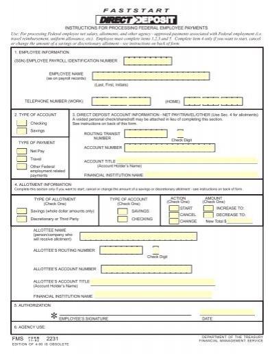 Fast Start Direct Deposit (FMS-2231) - Financial Management ...