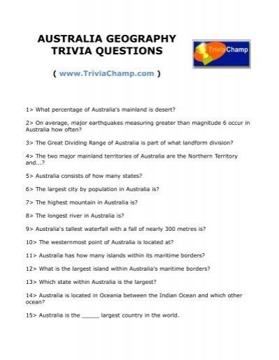australia geography trivia questions trivia champ