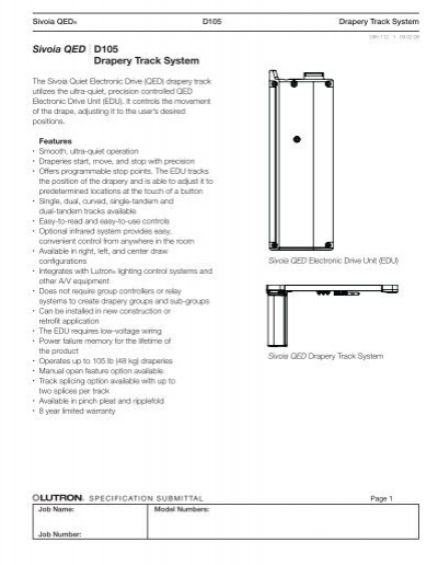 qed wiring diagram sivoia qed d105 drapery track system lutron  sivoia qed d105 drapery track system