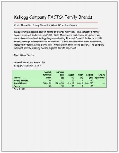 Kellogg Company FACTS: Family Brands