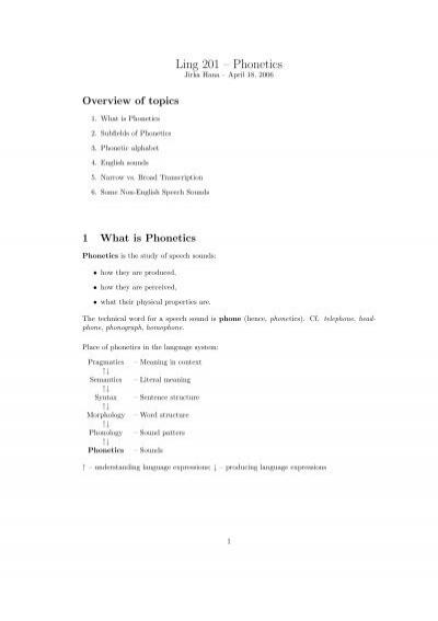 Ling 201 Phonetics