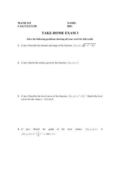 Take home exam 3 fandeluxe Image collections