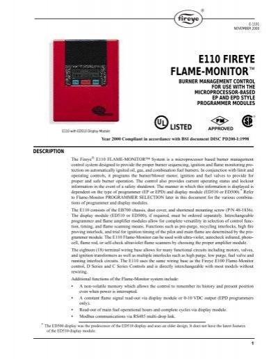 """e110 fireye flame monitorâ""""¢ fireye inc e110 fireye flame monitorâ""""¢ westmill industries"""