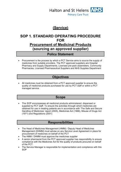 Sop 1 Procurement Of Medicinal Products Halton And St Helens Pct
