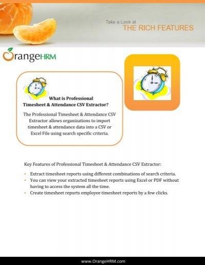 professional timesheet attendance csv extractor orangehrm