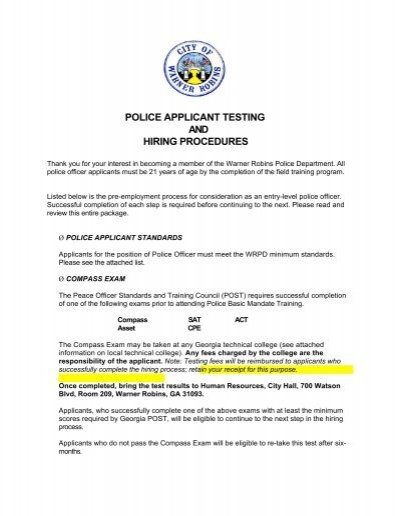 Applicant Package - Warner Robins Police Department