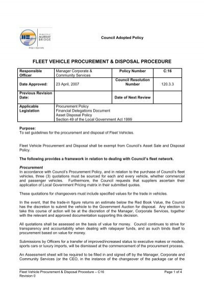Fleet Vehicle Procurement & Disposal Procedure - Rural City