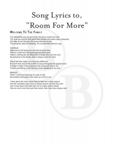"""Song Lyrics to, """"Room For More"""" - Booth Brothers"""