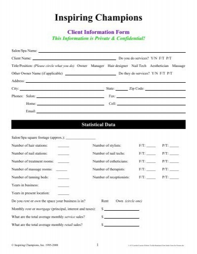 client intake form for owners