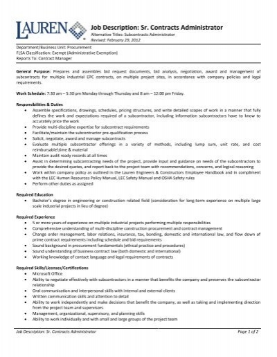 Job Description Sr Contracts Administrator Lauren Engineers – Contract Administrator Job Description