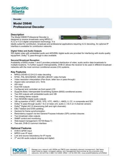 Model D9846 Professional Decoder - 7008417 - Cisco