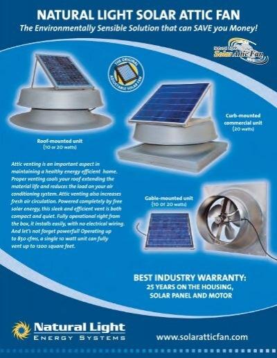 sc 1 st  Yumpu & NATURAL LIGHT SOLAR ATTIC FAN - Hi-Tech Plumbing Corp.