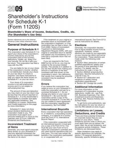 2009 Instruction 1120 S Schedule K 1 Internal Revenue Service