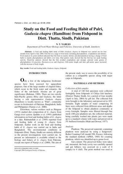 Study on the Food and Feeding Habit of Palri, Gudusia