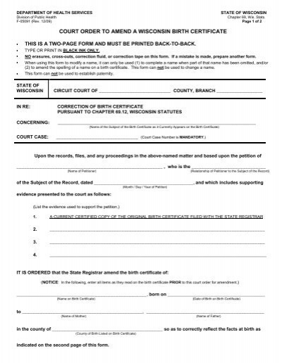 court order to amend a wisconsin birth certificate - Manitowoc County